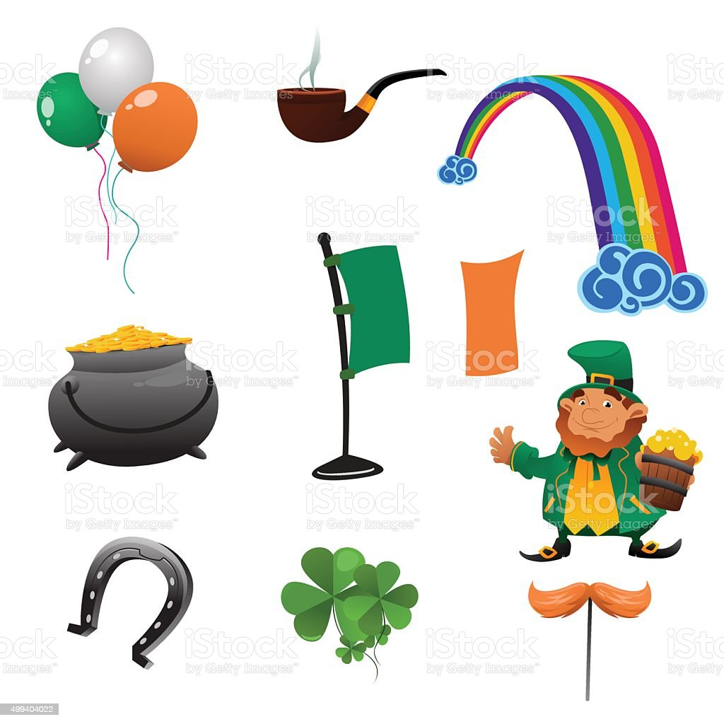 Saint Patrick Day Icons vector art illustration