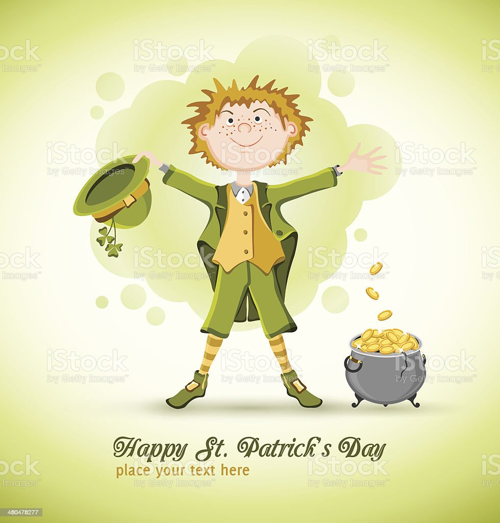 Saint Patrick Day. Leprechaun with lucky pot royalty-free stock vector art