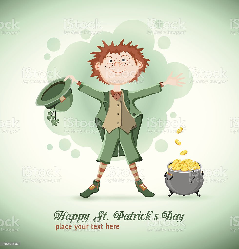 Saint Patrick Day. Leprechaun with magic pot royalty-free stock vector art
