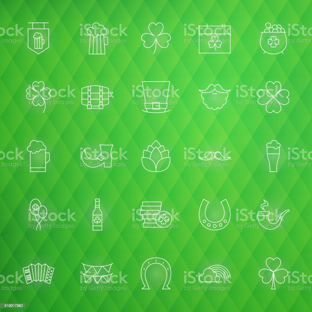 Saint Patrick Day Thin Line Icons Set vector art illustration