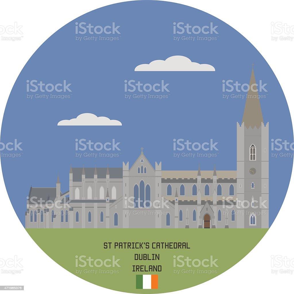 Saint Patrick's Cathedral in Dublin vector art illustration