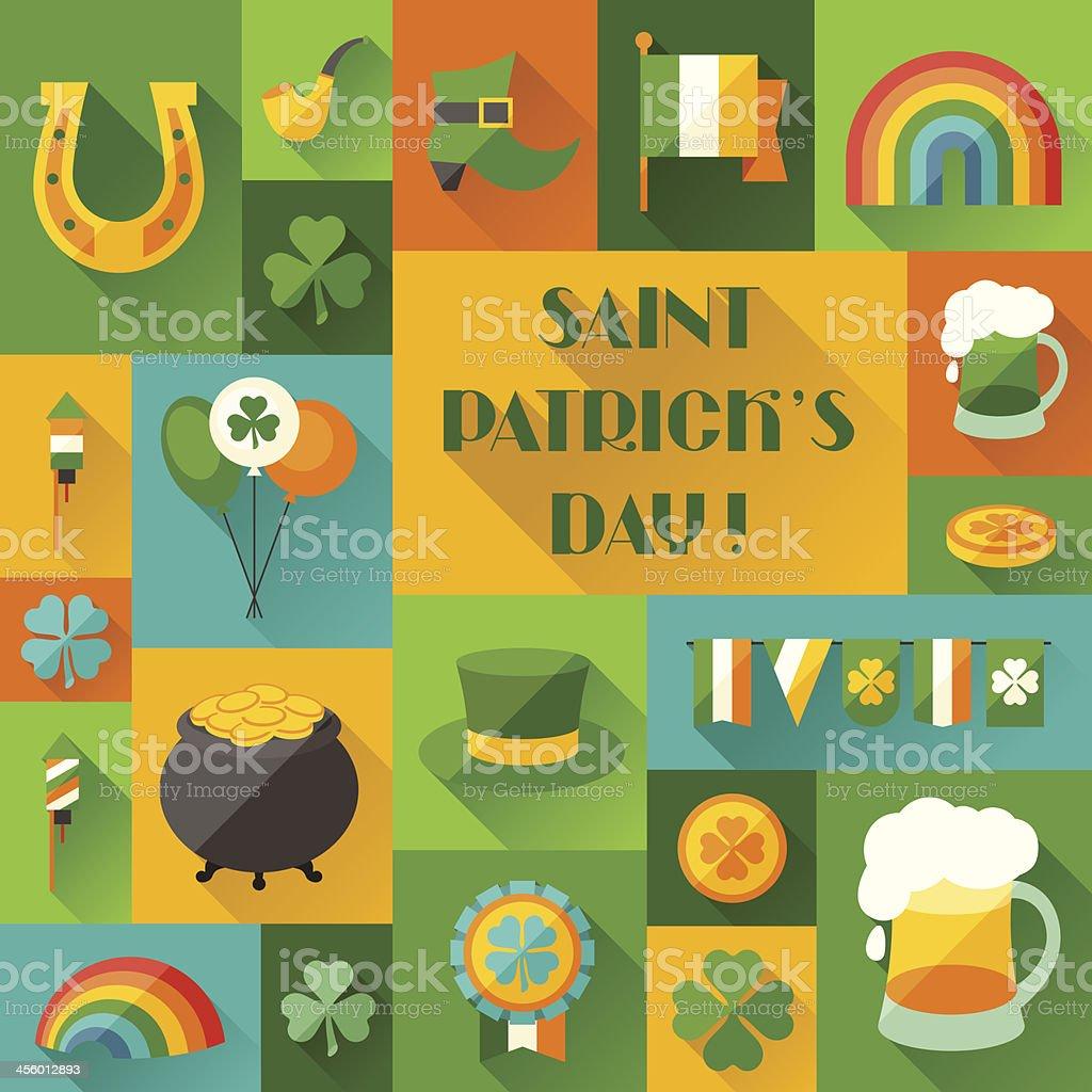 Saint Patrick's Day background in flat design style. vector art illustration