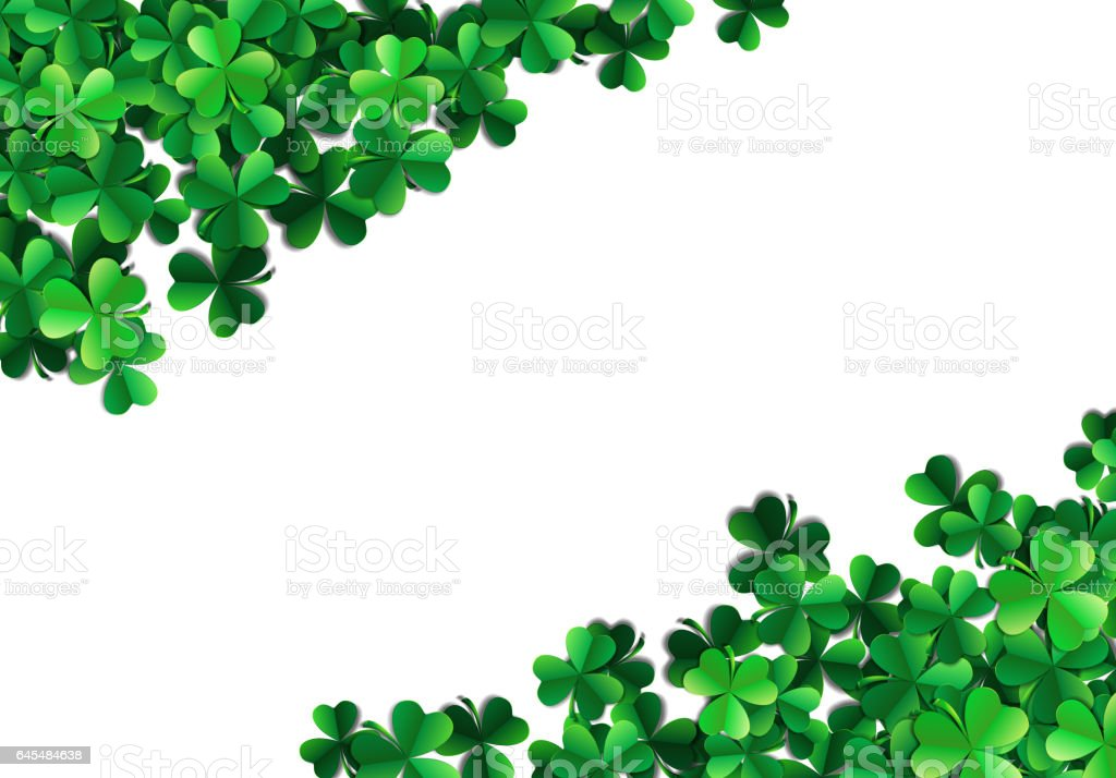 Saint Patricks day background with sprayed green clover leaves o vector art illustration