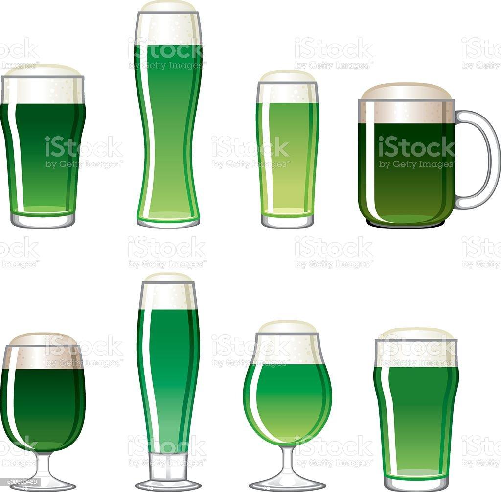 Saint Patrick's Day Beer Glass Icons Set vector art illustration
