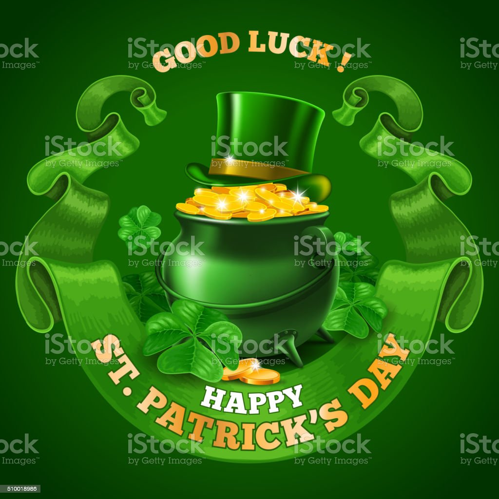 Saint Patricks Day Emblem Design vector art illustration