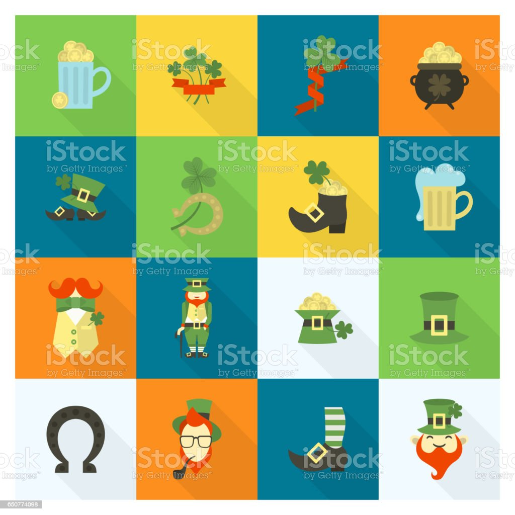 Saint Patricks Day Icon Set vector art illustration