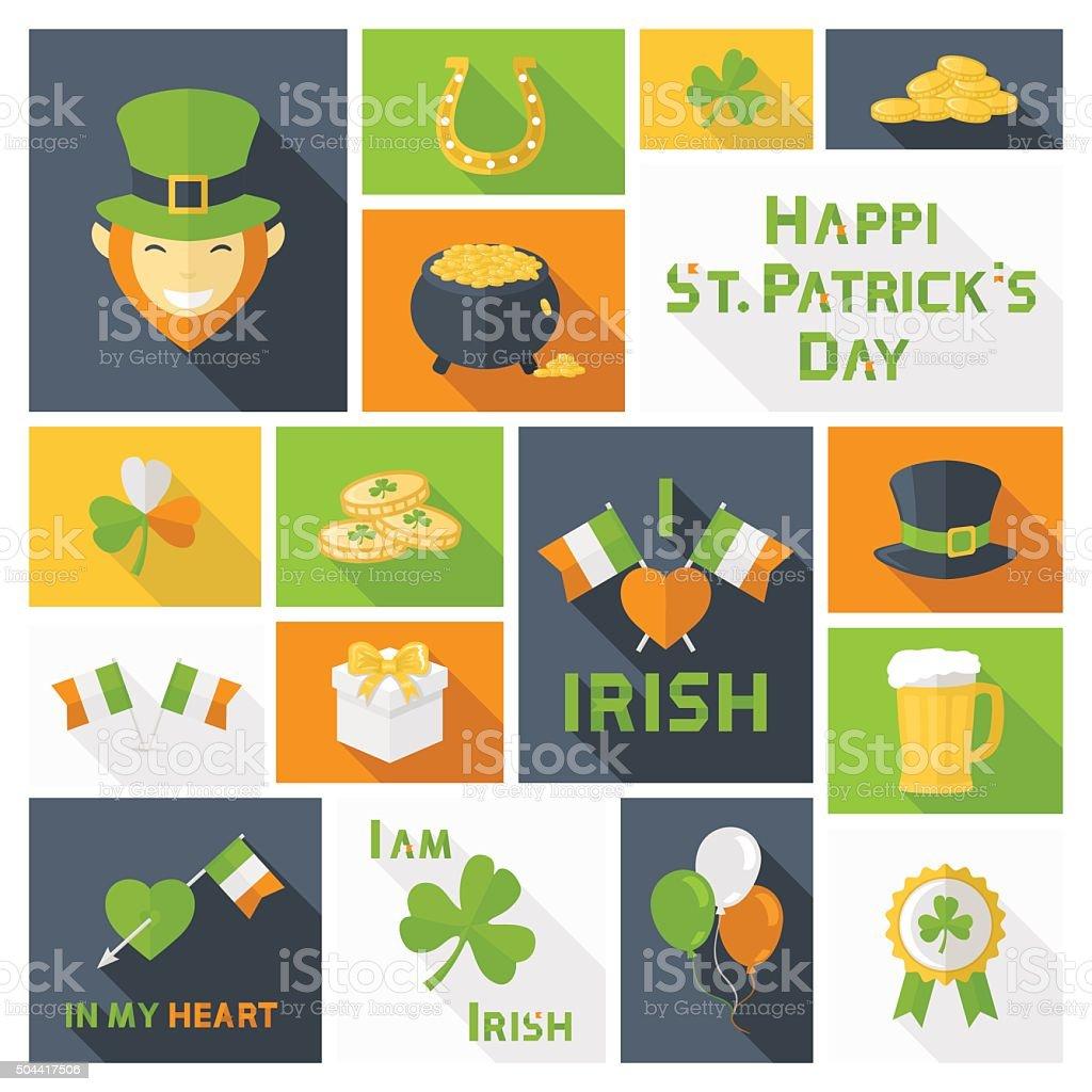 Saint Patricks Day icons set vector art illustration