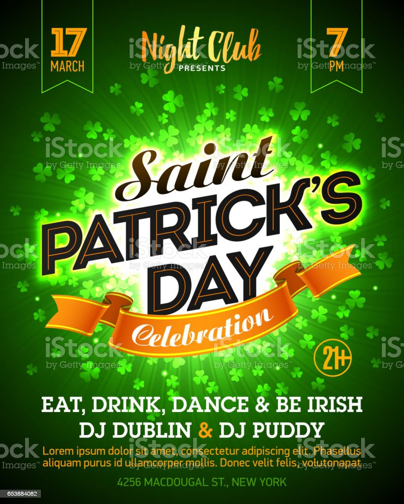 Poster design dublin - Saint Patrick S Day Party Celebration Poster Design Royalty Free Stock Vector Art