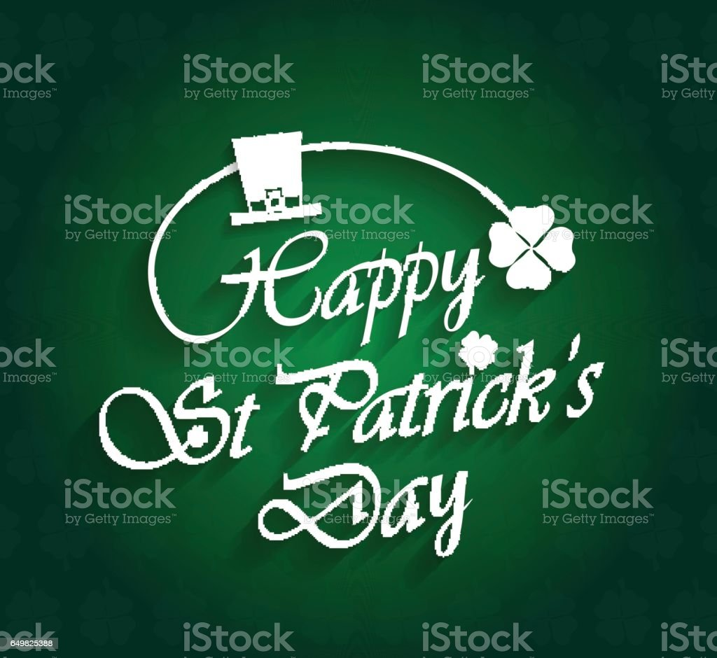 Saint Patrick's Day poster with clover and hat on green background vector art illustration