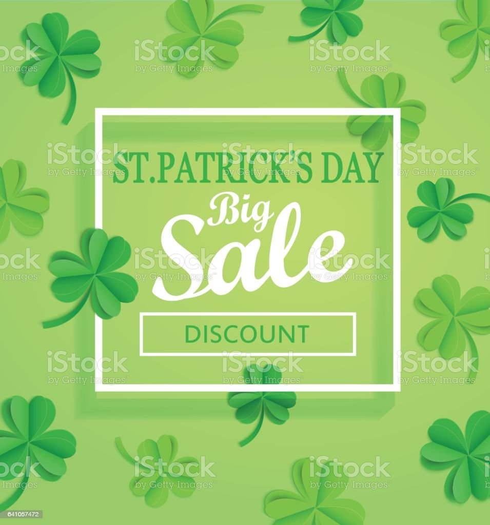 Saint Patricks Day Sale poster template. vector art illustration