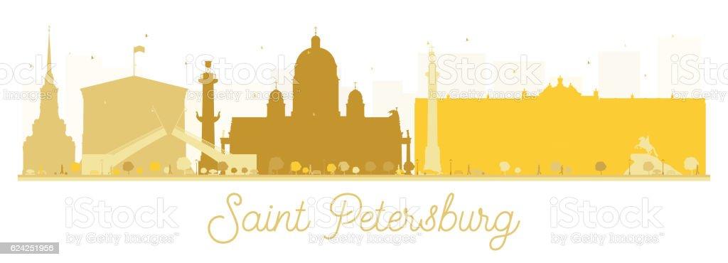 Saint Petersburg City skyline golden silhouette. vector art illustration