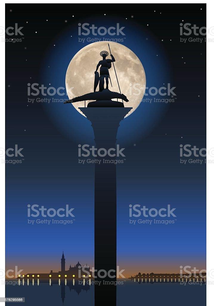 Saint Theodore and full moon vector art illustration