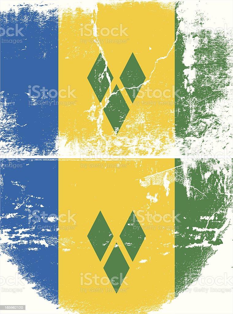 Saint Vincent and the Grenadines Grunge flag vector art illustration