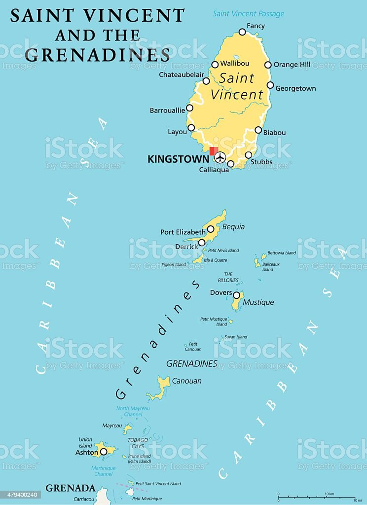 Saint Vincent and the Grenadines Political Map vector art illustration