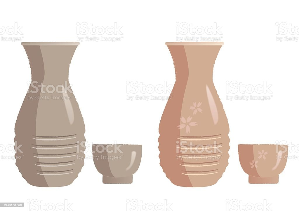 Sake bottle and sake cup vector art illustration