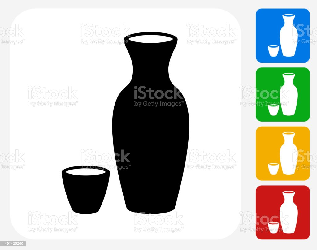 Sake Drink Icon Flat Graphic Design vector art illustration
