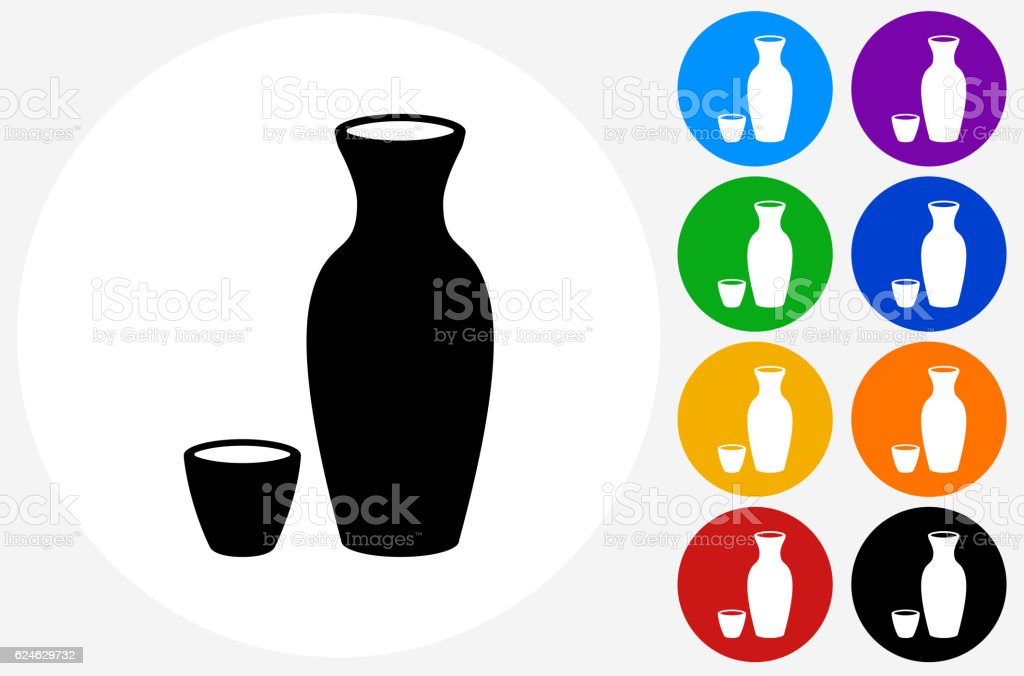 Sake Drink Icon on Flat Color Circle Buttons vector art illustration