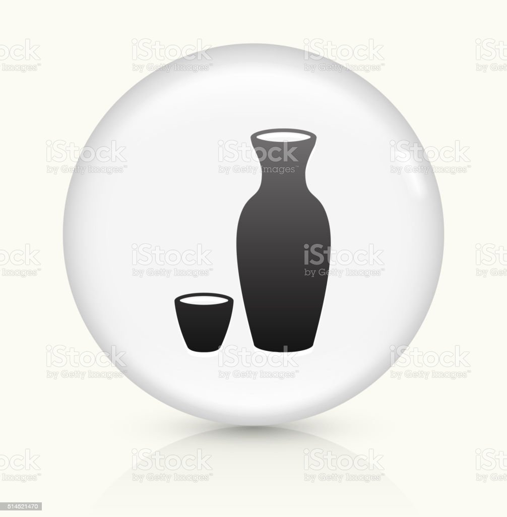 Sake Drink icon on white round vector button vector art illustration