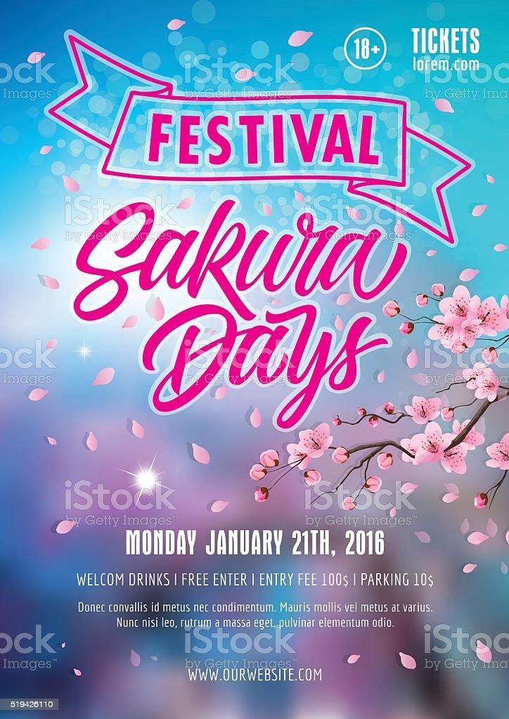 Sakura Days Festival Poster vector art illustration