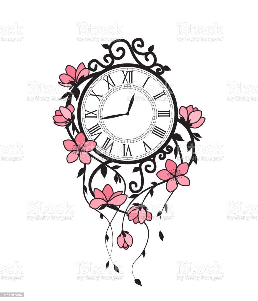 Sakura flowers and clock vector art illustration