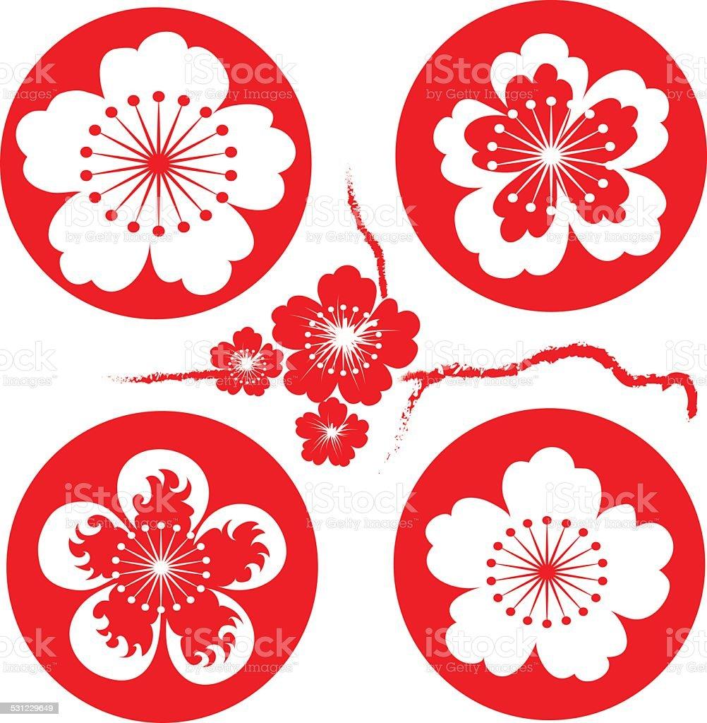 sakura flowers vector art illustration