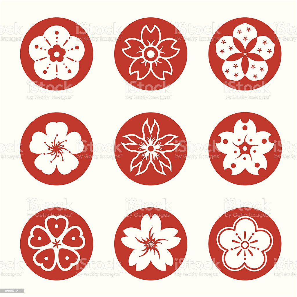 Sakura graphic elements vector art illustration