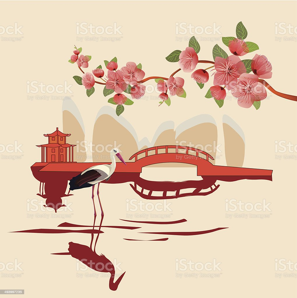 Sakura , landscape east royalty-free stock vector art