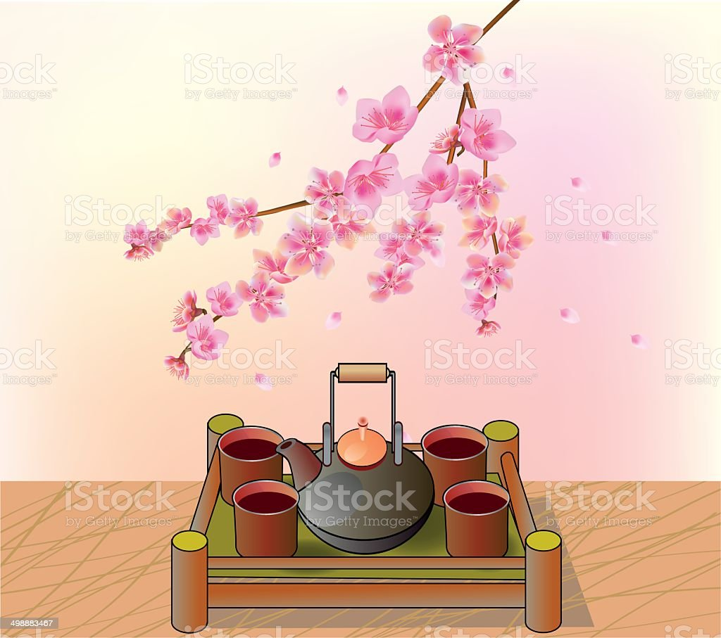 Sakura . Tea ceremony.Menu royalty-free stock vector art