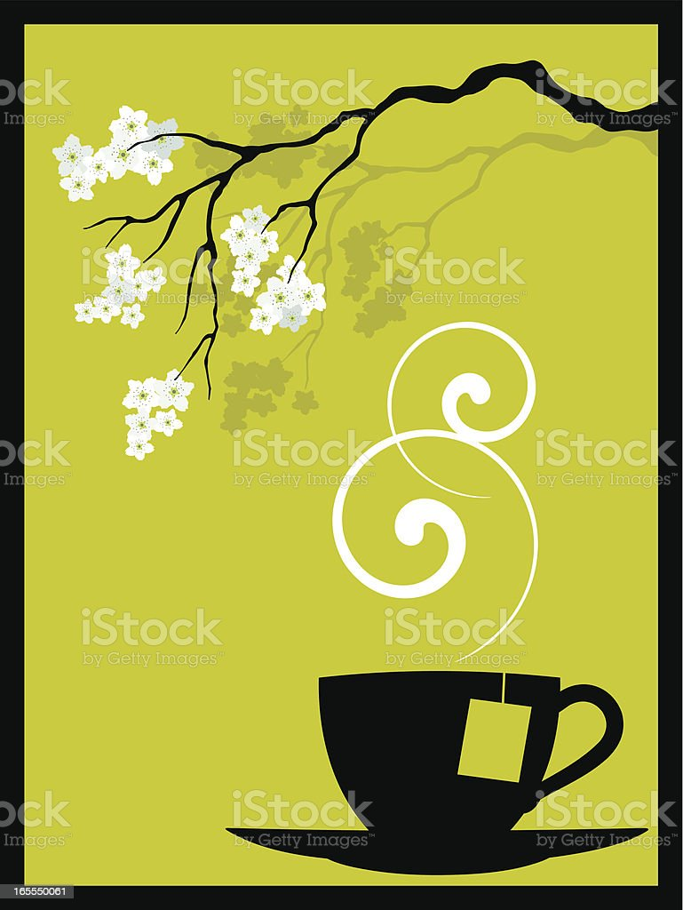 sakura tea vector art illustration