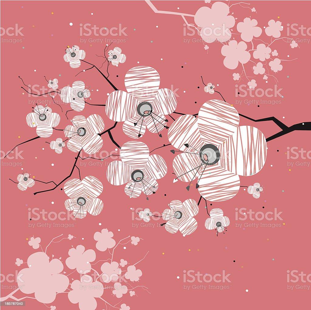 Sakura's Branch Pink  Background royalty-free stock vector art