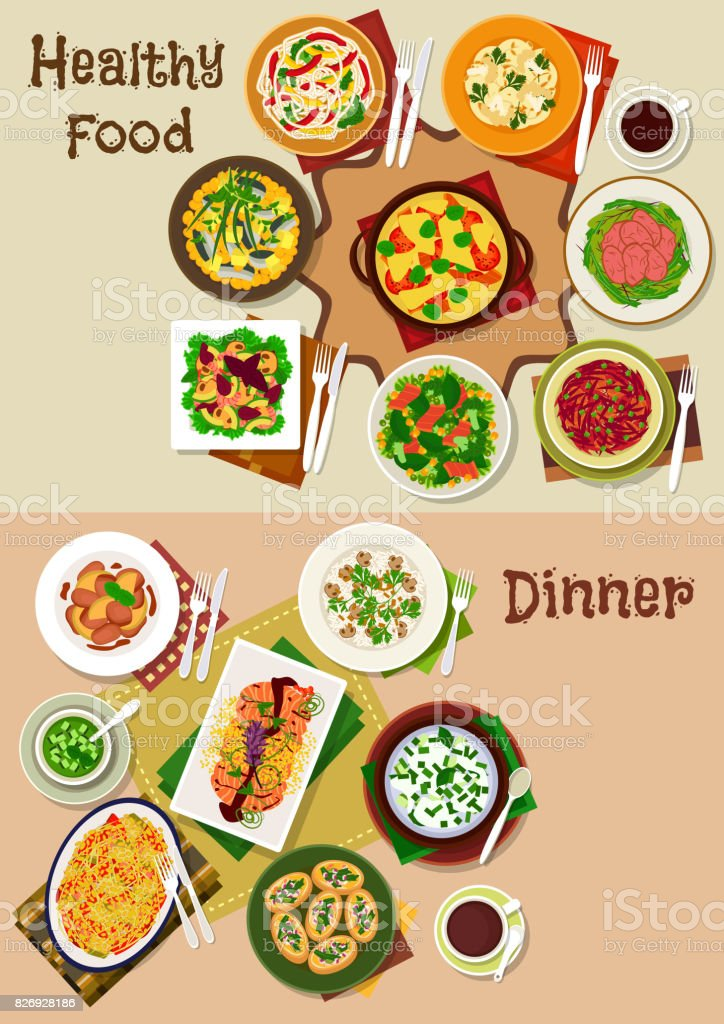 Salad and snack dishes for festive dinner icon set vector art illustration