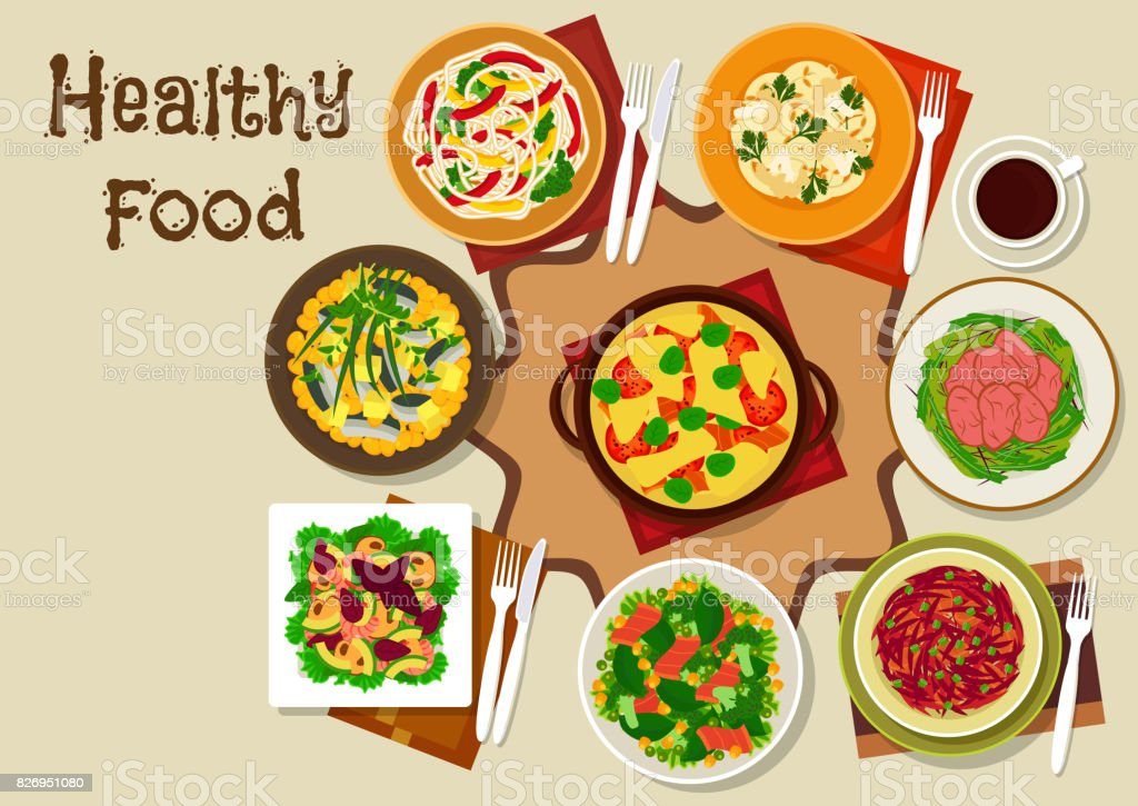 Salad dishes and healthy snack food icon vector art illustration