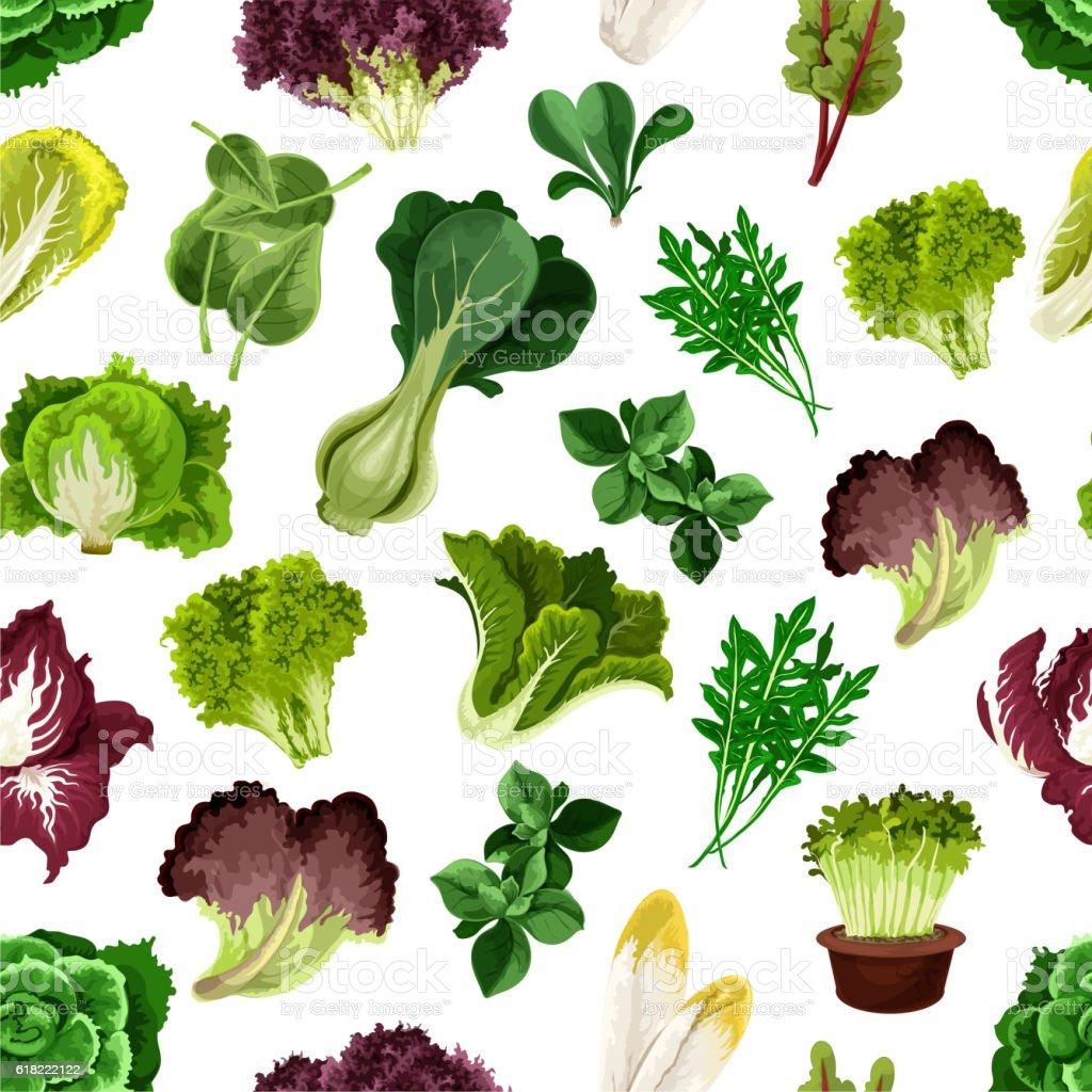 Salad greens and leafy vegetables pattern vector art illustration