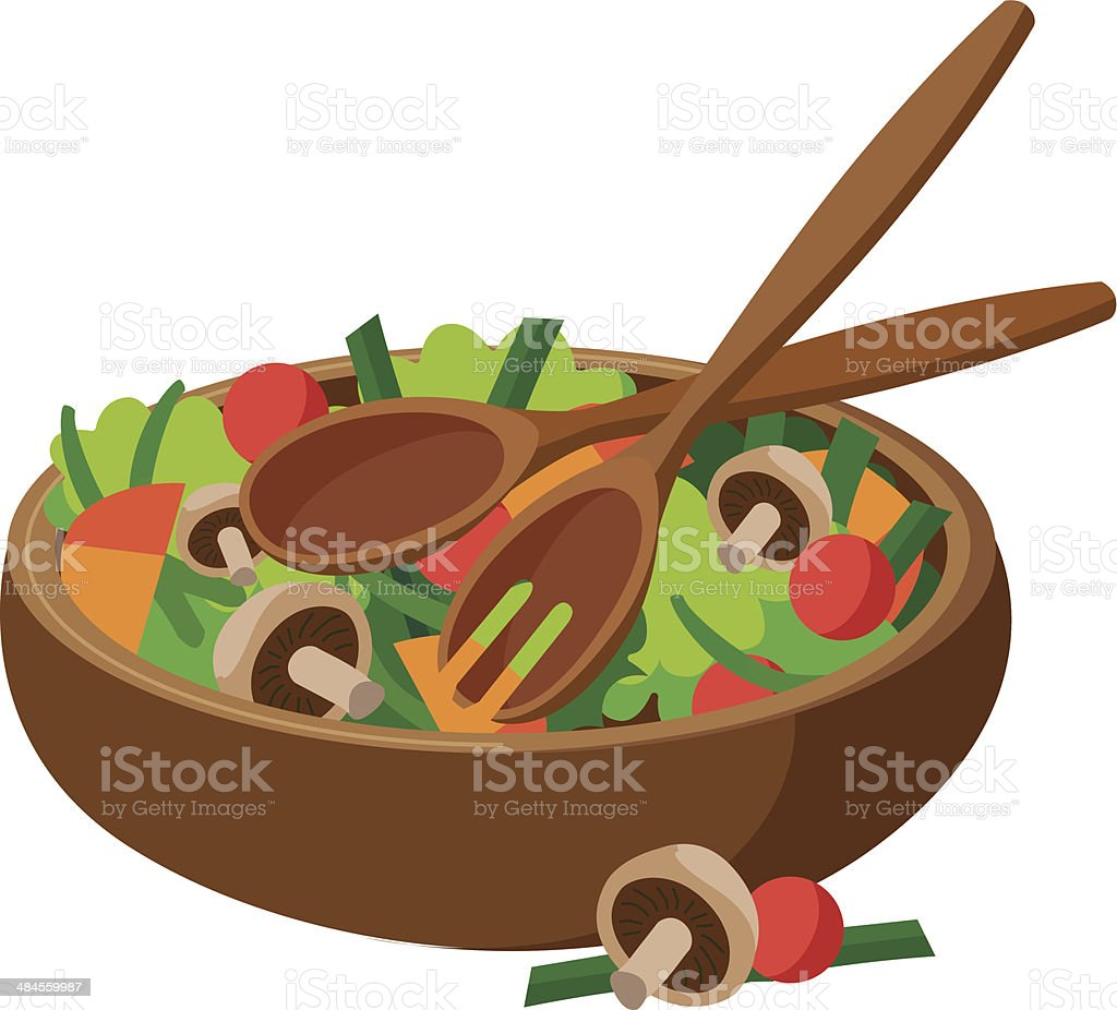 salad in a wooden bowl with serving utensils vector art illustration
