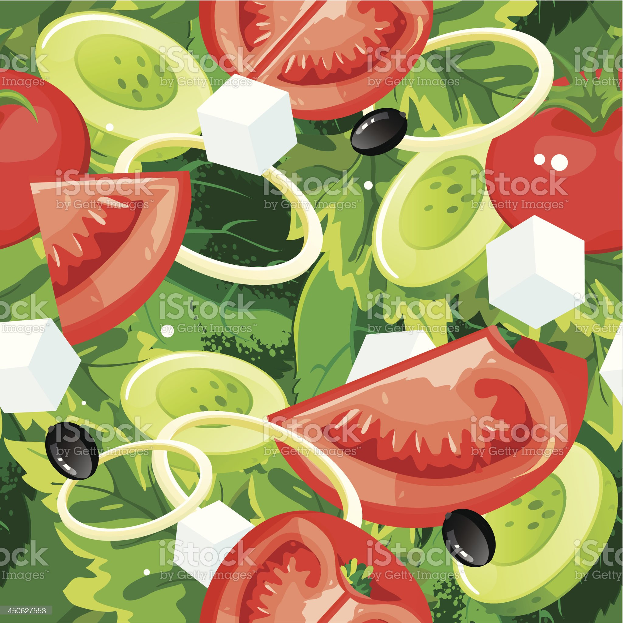 Salad Seamless Background Pattern royalty-free stock vector art