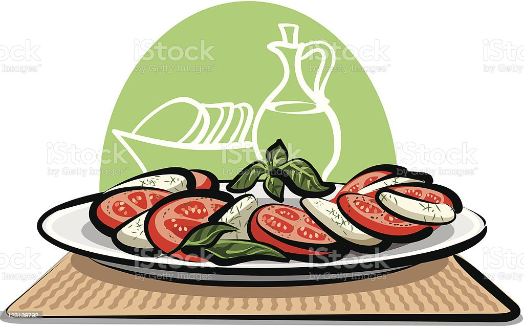 salad with mozzarella and tomatoes vector art illustration