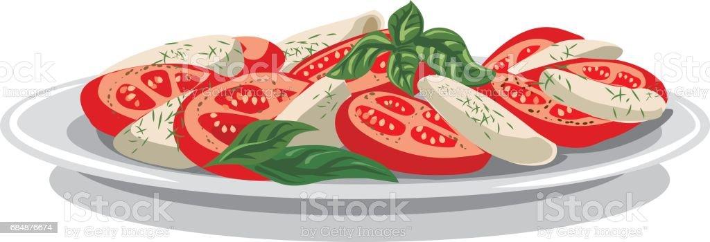 salad with mozzarella vector art illustration