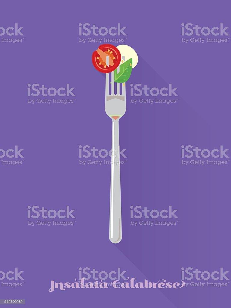 Salad with tomato, basil and mozzarella cheese on fork illustrat vector art illustration