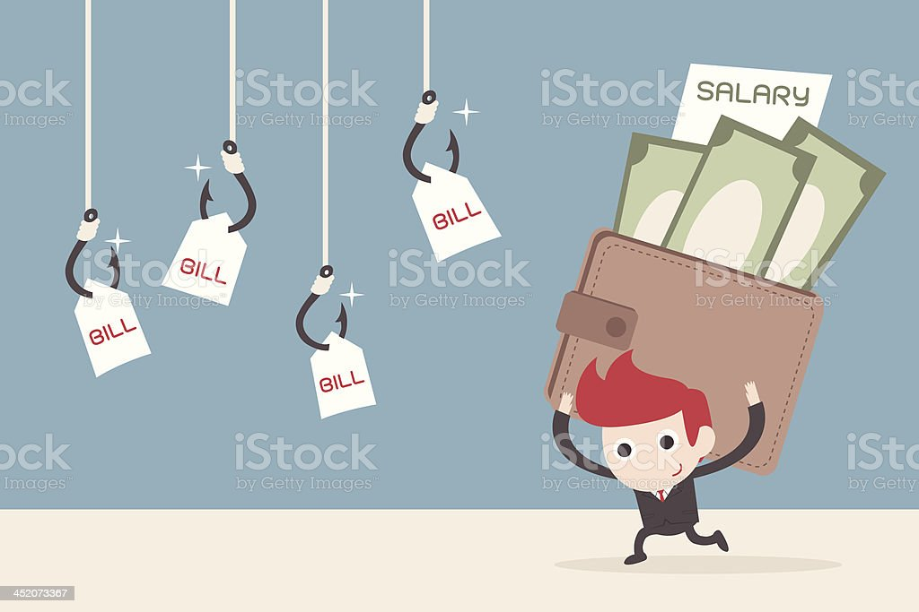 salary man and payment royalty-free stock vector art