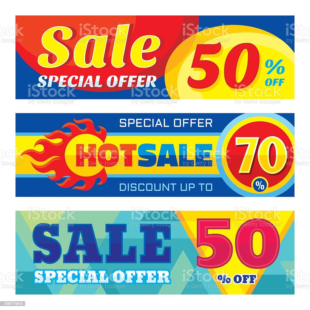 Sale abstract vector banners discount up to 50% - 70% vector art illustration