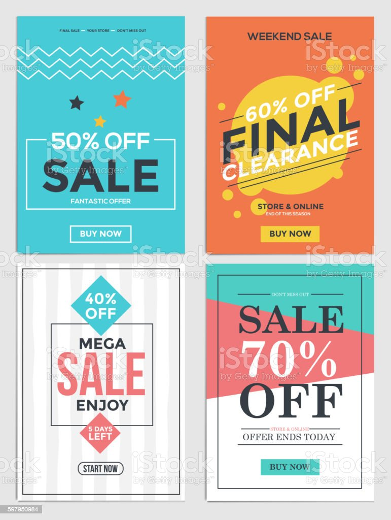 Sale and Discount Flyers vector art illustration