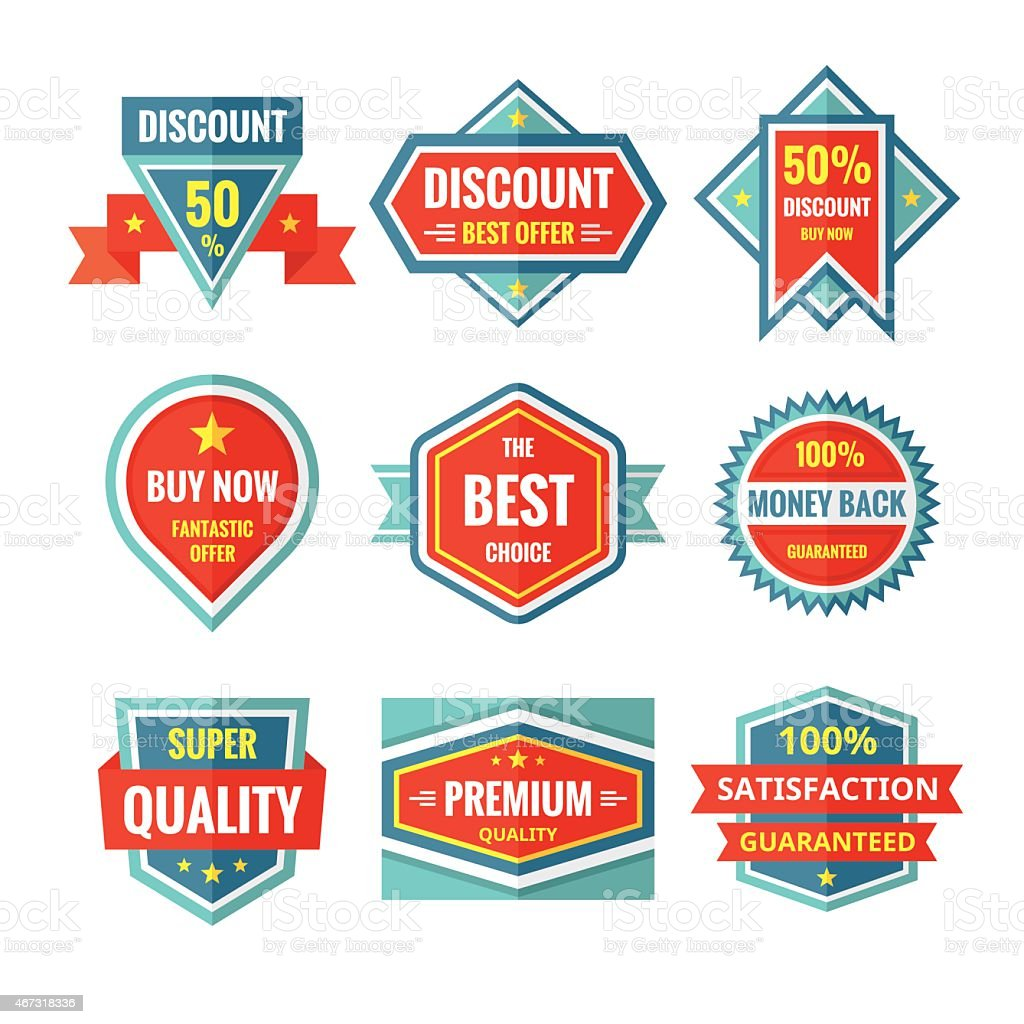 Sale and discount vector badges in flat style design. vector art illustration