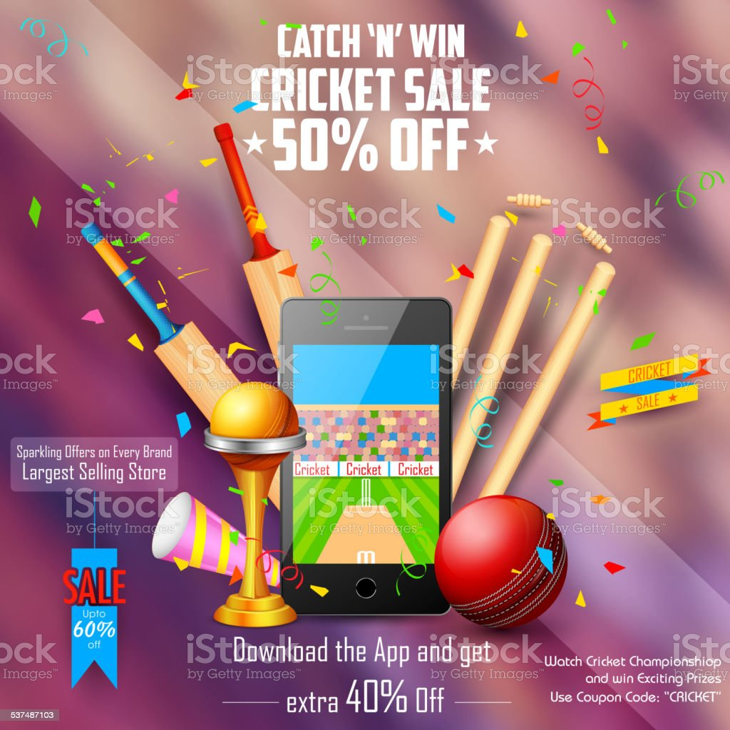 Sale and Promotion banner for Cricket season vector art illustration