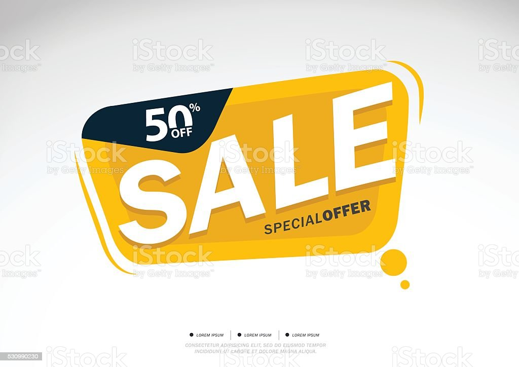 Sale and special offer. 50% off vector art illustration