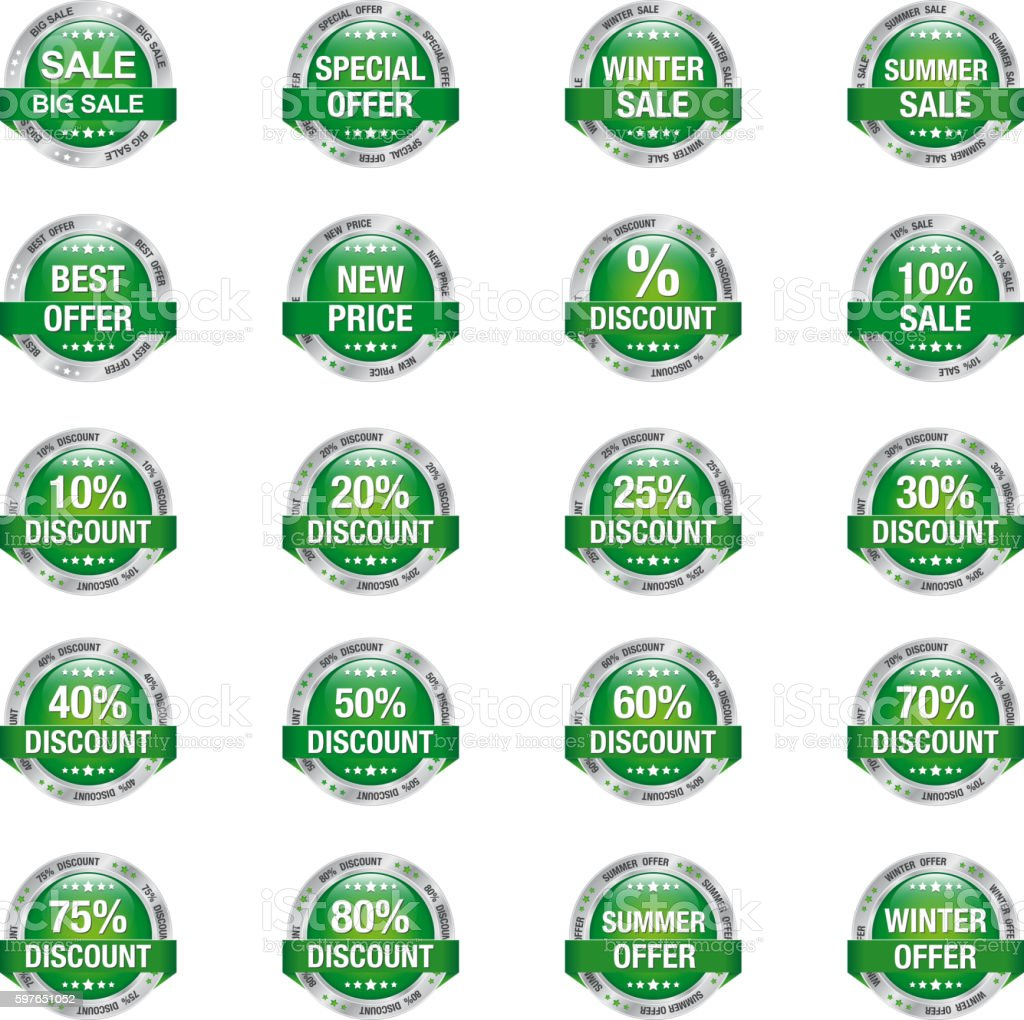 Sale Discount Button Green Silver vector art illustration