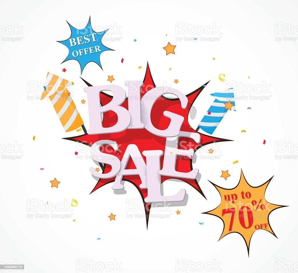 Sale discount design with fireworks vector art illustration
