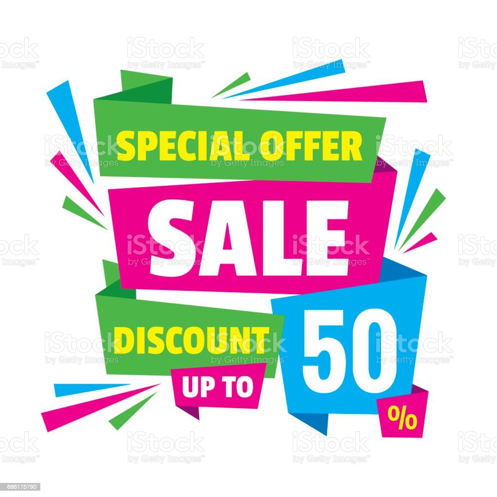 Design elements banner - Sale Discount Up To 50 Concept Banner Vector Illustration Abstract Advertising Creative Layout