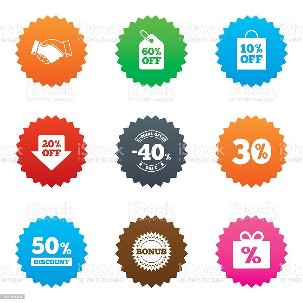 Sale discounts icon. Shopping, deal signs. vector art illustration