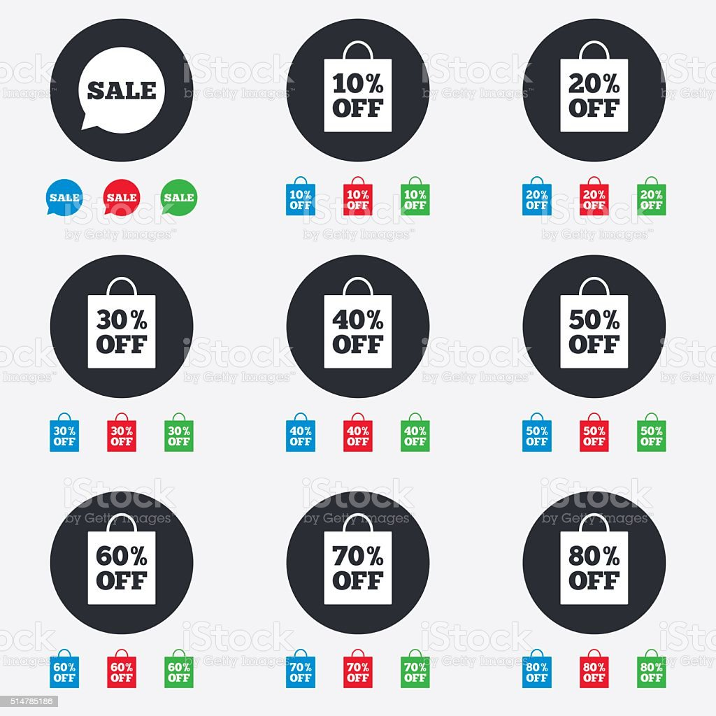 Sale discounts icons. Special offer signs. vector art illustration