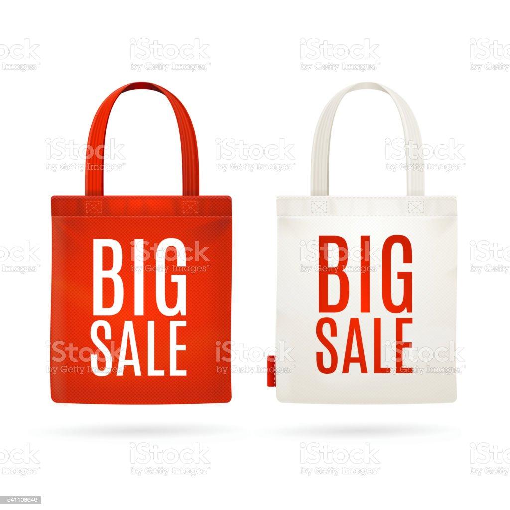 Sale Eco Bag Set. Vector vector art illustration